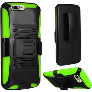 Insten Black/ Green Hard PC/ Silicone Dual Layer Hybrid Case Cover with Holster For Apple iPhone 7 Plus