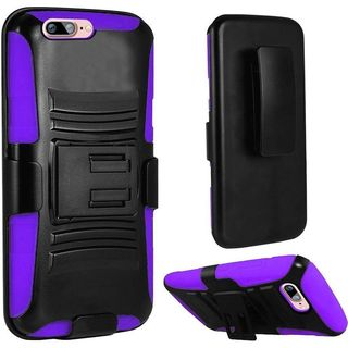Insten Black/ Purple Hard PC/ Silicone Dual Layer Hybrid Case Cover with Holster For Apple iPhone 7 Plus