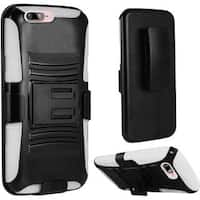 Insten Black/ White Hard PC/ Silicone Dual Layer Hybrid Case Cover with Holster For Apple iPhone 7 Plus