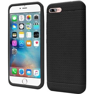 Insten Black Rugged Soft Silicone Skin Rubber Case Cover For Apple iPhone 7