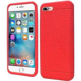 Insten Red Rugged Silicone Skin Gel Rubber Case Cover For Apple iPhone 7