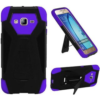 Insten Black/ Purple Hard PC/ Silicone Dual Layer Hybrid Case Cover with Stand For Samsung Galaxy On5