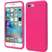 Insten Hot Pink Rugged Silicone Skin Gel Rubber Case Cover For Apple iPhone 7 Plus