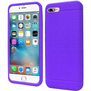 Insten Purple Rugged Silicone Skin Gel Rubber Case Cover For Apple iPhone 7 Plus