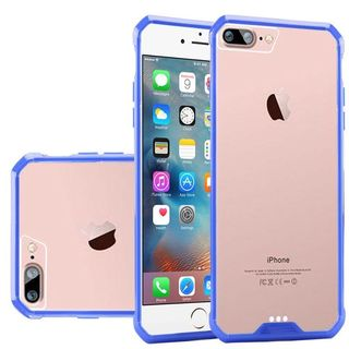 Clear/ Blue Hard Snap-on Crystal Case Cover For Apple iPhone 7