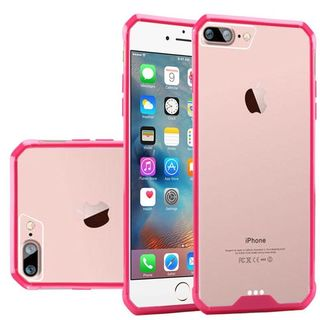 Clear/ Hot Pink Hard Snap-on Crystal Case Cover For Apple iPhone 7