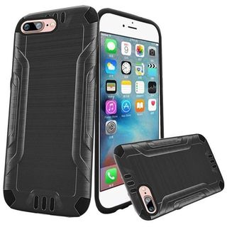 Insten Gray/ Black Hard PC/ Silicone Dual Layer Hybrid Rubberized Matte Case Cover For Apple iPhone 7 Plus