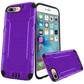 Insten Purple/ Black Hard PC/ Silicone Dual Layer Hybrid Rubberized Matte Case Cover For Apple iPhone 7 Plus