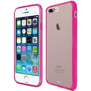 Clear/ Hot Pink Hard Snap-on Crystal Case Cover For Apple iPhone 7 Plus