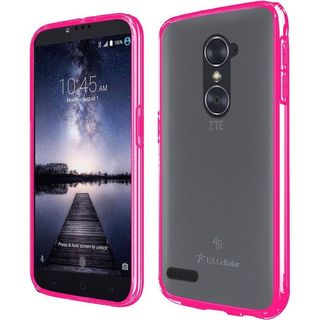 Insten Clear/ Hot Pink Hard Snap-on Dual Layer Hybrid Crystal Case Cover with Screen Protector For ZTE Carry/ Zmax Pro