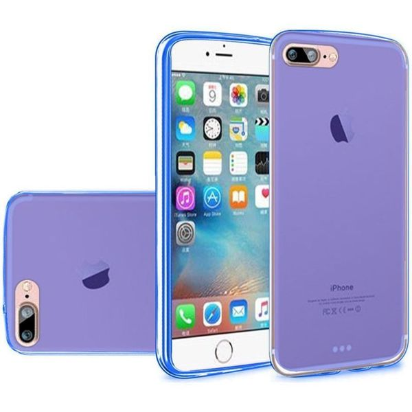 Insten Blue Frosted TPU Rubber Candy Skin Case Cover For Apple iPhone 7