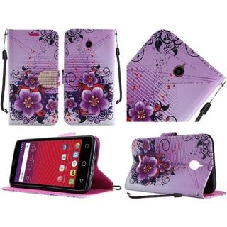 Insten Purple Flowers Leather Case Cover Lanyard with Stand/ Diamond For Alcatel Acquire/ Dawn/ Streak