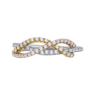 10k Tri-Color Gold 3/8ct TDW Diamond Fashion Ring