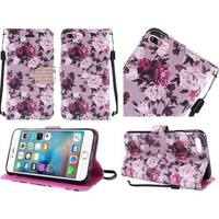 Insten Purple/ White Roses Leather Case Cover Lanyard with Stand/ Diamond For Apple iPhone 7