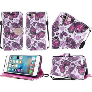 Insten Purple/ White Butterfly Flower Leather Case Cover Lanyard with Stand/ Diamond For Apple iPhone 7
