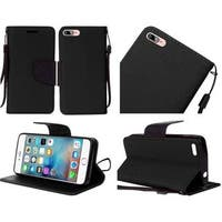 Insten Black Leather Case Cover Lanyard with Stand For Apple iPhone 7