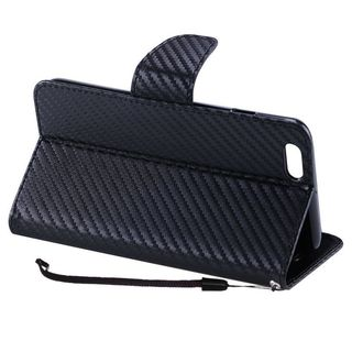 Insten Black Carbon Fiber Leather Case Cover Lanyard with Stand For Apple iPhone 7