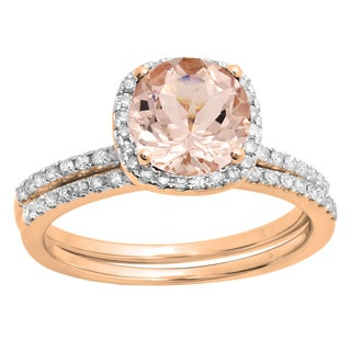 10k Rose Gold 1ct TGW Morganite and White Diamond Accent Bridal Halo Ring Set (I-J, I1-I2)