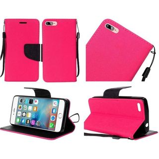 Insten Hot Pink/ Black Leather Case Cover Lanyard with Stand For Apple iPhone 7