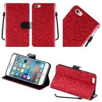Insten Red Roses Leather Case Cover Lanyard with Stand For Apple iPhone 7