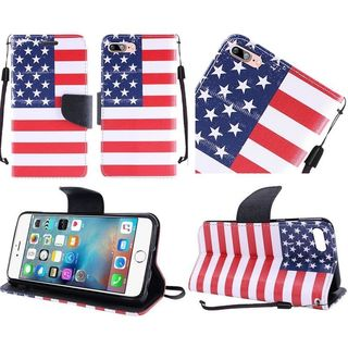 Insten Red/ Blue US National Flag Leather Case Cover Lanyard with Stand For Apple iPhone 7