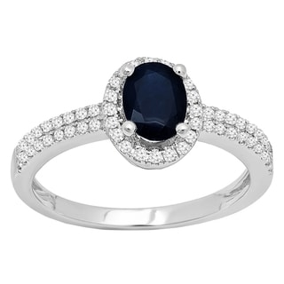 10k Gold 1 3/8ct TGW Oval-cut Blue Sapphire and Diamond Bridal Halo Ring (I-J, I2-I3)