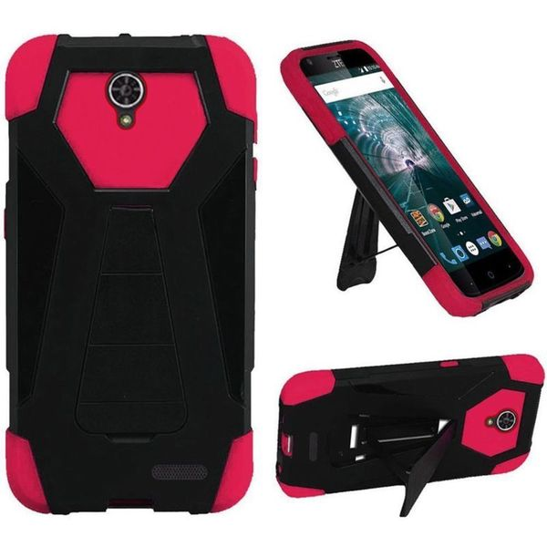 Insten Black/ Hot Pink Hard PC/ Silicone Dual Layer Hybrid Case Cover with Stand For ZTE Warp 7