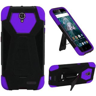 Insten Black/ Purple Hard PC/ Silicone Dual Layer Hybrid Case Cover with Stand For ZTE Warp 7