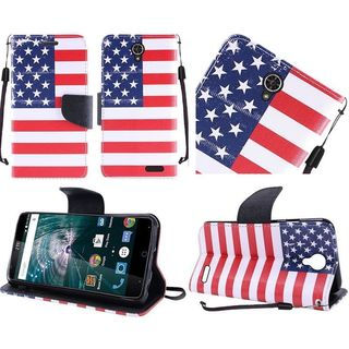Insten Red/ Blue US National Flag Leather Case Cover Lanyard with Stand For ZTE Warp 7