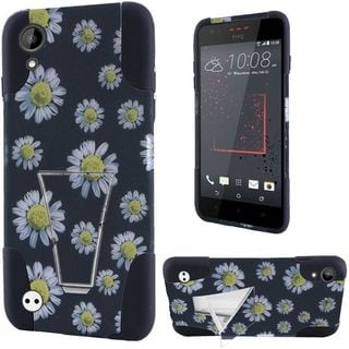 Insten Black/ White Daisy Blossom Hard PC/ Silicone Dual Layer Hybrid Case Cover with Stand For HTC Desire 530