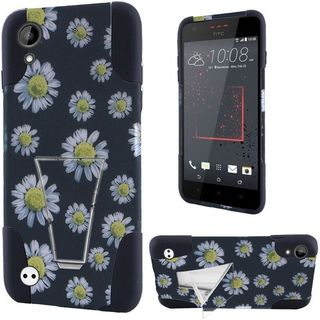 Insten Black/ White Daisy Blossom Hard PC/ Silicone Dual Layer Hybrid Case Cover with Stand For HTC Desire 530/ 550/ 555