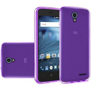 Insten Purple Frosted TPU Rubber Candy Skin Case Cover For ZTE Avid/ Cheers/ Trio