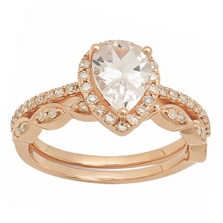 14k Rose Gold 1 3/4ct TGW Pear Morganite and White Diamond Halo Ring Set (I-J, I1-I2)