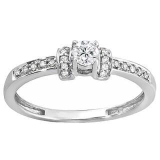 10k Gold 1/4ct TDW Round Diamond Bridal Unique Vintage Style Engagement Ring (I-J, I1-I2)