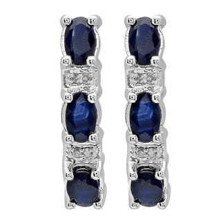 10k Gold 2 1/10ct TGW Blue Sapphire and White Diamond Accent J Shaped Hoop Earrings (I-J, I2-I3)