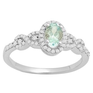 10k Gold 3/4ct TGW Oval Aquamarine and White Accent Diamond Bridal Halo Ring (I-J,I2-I3)