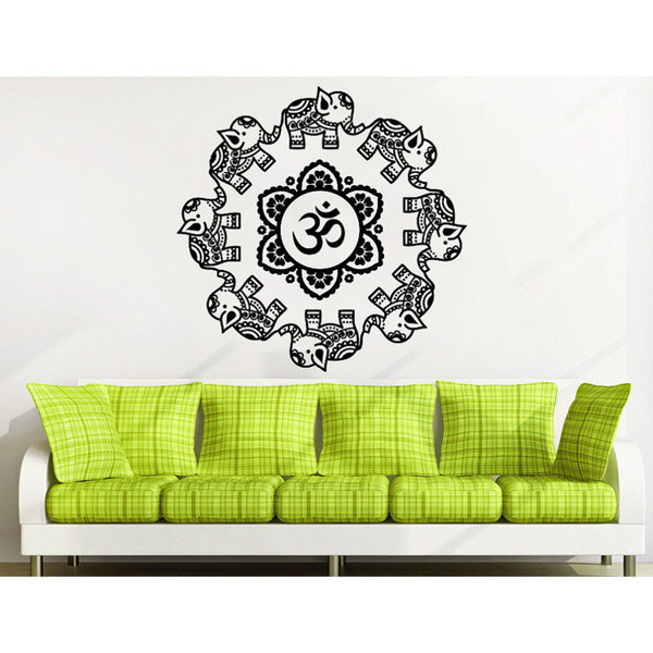 Mandala Ornament Geometric Elephant Indian Moroccan Pattern Namaste Lotus Yoga Sticker Decal size 33