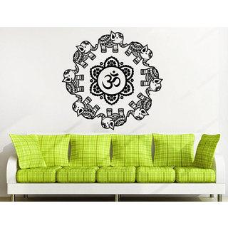 Mandala Ornament Geometric Elephant Indian Moroccan Pattern Namaste Lotus Yoga Sticker Decal size 33x33 Color Black