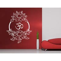 Lotus Flower Floral Om Buddha Namaste Yoga Indian Tattoo Wall Sticker Decal size 33x39 Color Black