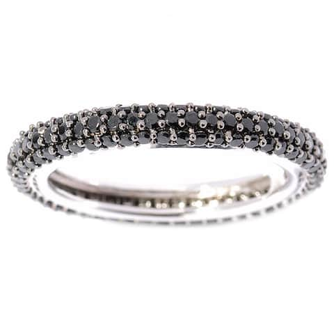 Sterling Silver Black Spinel Round Band Eternity Ring