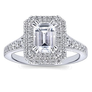 14k White Gold 1 1/4ct TDW White Diamond Graduated Halo Engagement Ring (G-H, VS1-VS2)