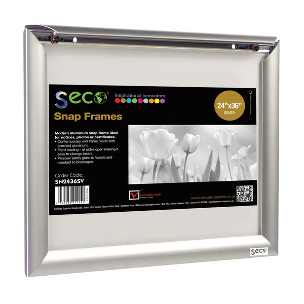 Seco Front Load Easy Open Snap Poster Picture Frame 24 X 36 Inches Silver Anodized Aluminum Sn2436 Free Shipping Today