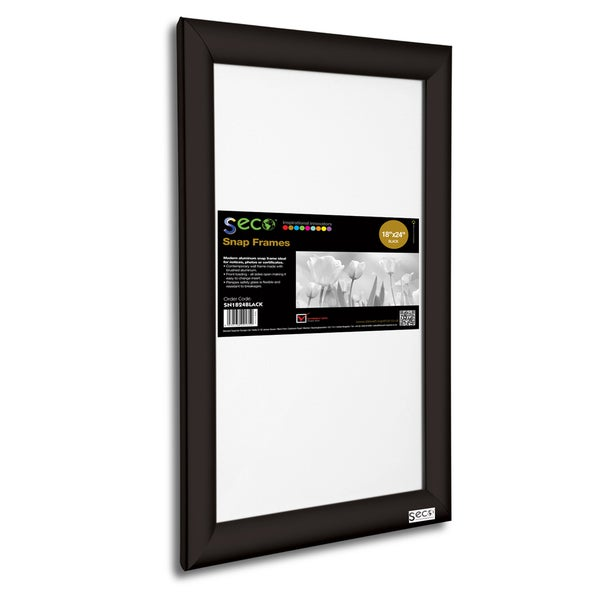 SECO Black Aluminum Frame 18-inch x 24-inch Front-load Easy-open Snap  Poster/Picture Frame