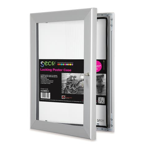 SECO Stewart Silvercolored Aluminum 8.5-inch x 11-inch Shatterproof Rustproof Superior Locking Indoor/Outdoor Poster Case