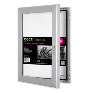 SECO Stewart Superior 24-inch x 36-inch Locking Indoor/Outdoor Poster Case with Silvertone Aluminum Frame