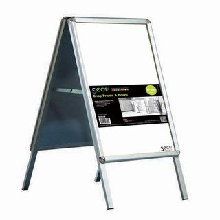 SECO Stewart Superior 22-inch x 28-inch Outdoor A-frame Sidewalk Sign with Snap-frame Design and Silvertone Frame