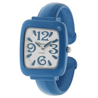 Geneva Platinum Women's Rectangle Case Open Cuff Bracelet Watch