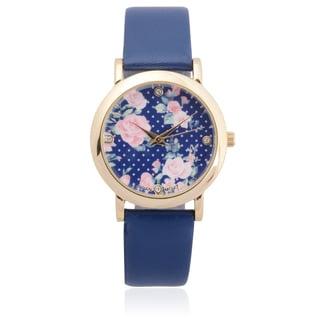 Geneva Platinum Women's Goldtone Rhinestone Floral Print Dial Link Bracelet Watch