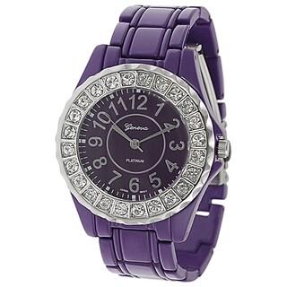 Geneva Platinum Women's Round Silvertone Rhinestone Accent Link Bracelet Watch