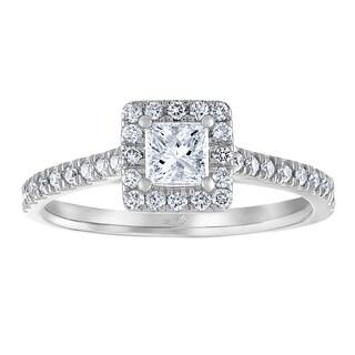 14k White Gold 3/4ct TDW White Diamond Princess Halo Engagement Ring (I-J, I1-I2)